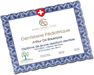 Diploma of a pediatric dentist in Geneva
